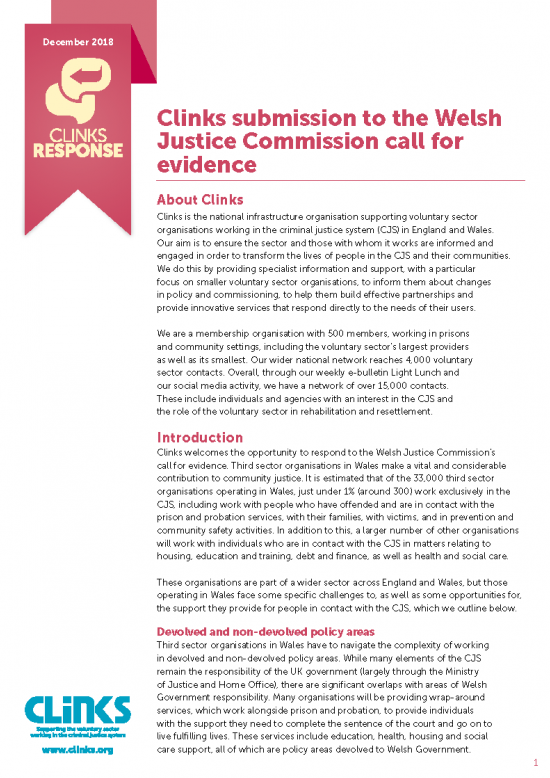 Clinks submission to the Welsh Justice Commission call for evidence front cover