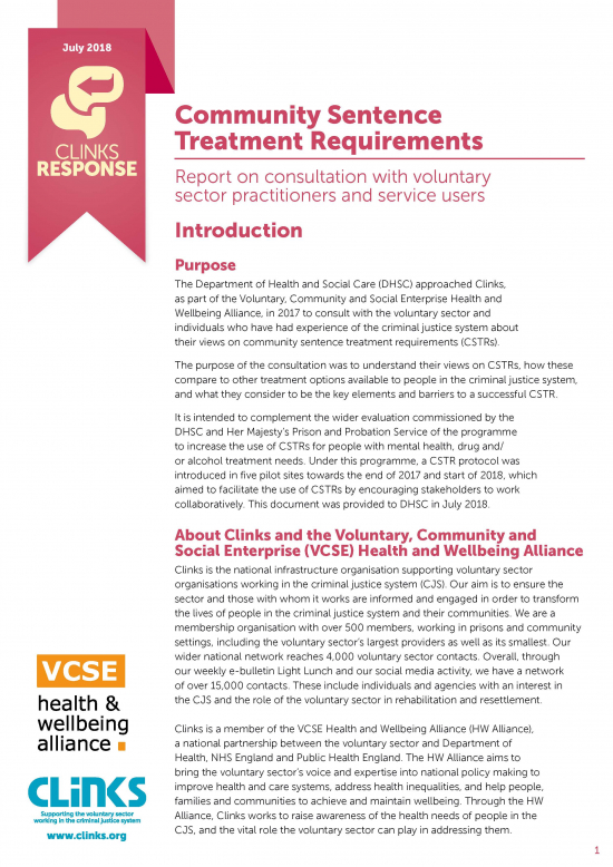 Community Sentence Treatment Requirements response cover image