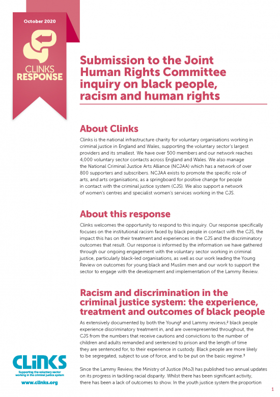 Submission to the Joint Human Rights Committee inquiry on black people, racism and human rights
